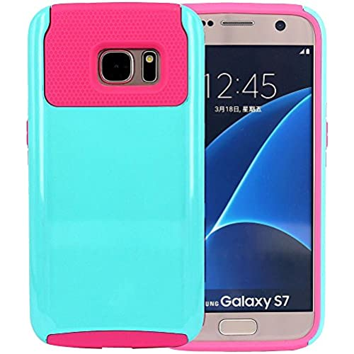 Galaxy S7 Case, CNCASE Dual Layer 2-Piece Style Hybrid Hard Shockproof Bumper Case Cover for Samsung Galaxy S7 - Mint & Hotpink Sales