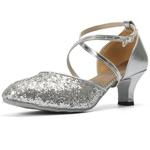 Cygnus Women Dance Shoes Latin Salsa Tango Practice Ballroom Dance Shoes with 2'' Heel Suede Sole Silver 10 B(M) US by Cygnus