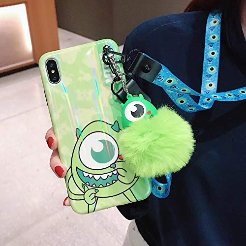 Maxlight Laser Cartoon Mickey Minnie Mouse Stitch Pooh Phone Cases for iPhone 7 8 Plus XS MAX XR X Cute Back Case Lanyard+Fox Ball (Green, for iPhone Xs Max) (Ball Cartoon Animal)