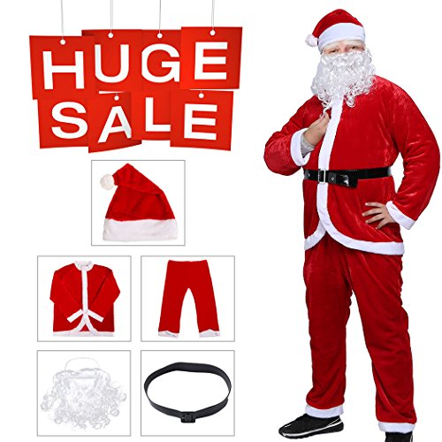 iphonepassteCK Christmas Claus Costume Velvet Deluxe Santa Men's Set Suit - Velvet Red Suit Santa