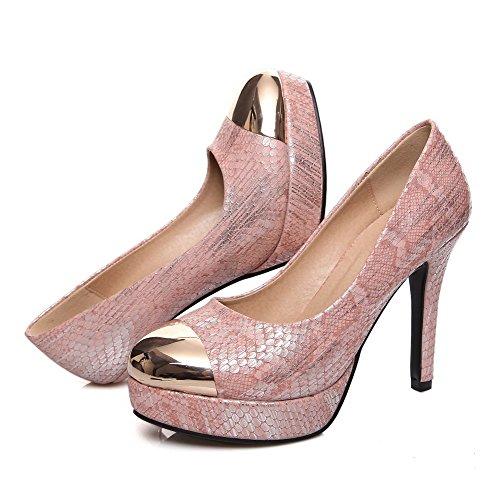 AllhqFashion Damen Stiletto Rein Ziehen auf Blend-Materialien Rund Zehe Pumps Schuhe Pink