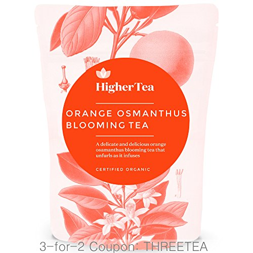 Orange Osmanthus Blooming Tea By Higher Tea (8 Blooms) Beautiful Hand Sewn Petals Unfurl To Deliver Delicious, Healthy Flowering Tea, Handmade Chinese…