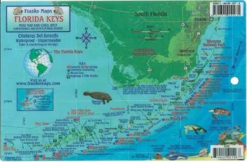 Florida Keys Dive Map & Reef Creatures Guide Franko Maps Laminated Fish - Florida Reef