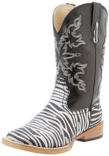 Roper Square Toe Glitter Zebra Western Boot (Toddler/Little Kid),Black/Silver,13 M US Little Kid