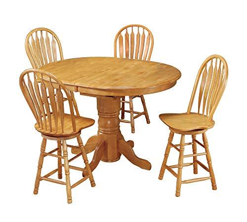 (Sunset Trading DLU-TBX4266CB-B24-LO5PC Oak Selections Pub Table Set, Light Finish)