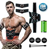 Muscle Trainer EMS Abdominal Toning Belt, A-TION [Newest Upgrade] Portable Rechargeable Gym Workout Training and Home Office Fitness Equipment for Abdomen/Arm/Leg, ABS Stimulator Muscle Toner for Men & Women