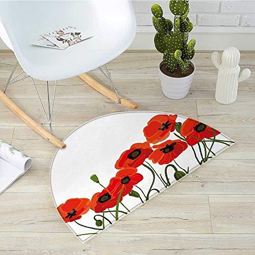 Poppy Half Round Door mats Efflorescing Meadow in The Backwoods Vibrant Blossoms Buds Bouquet Bathroom Mat H 47.2