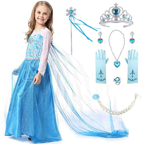 Elsa Girls Halloween Costumes - Aricy Snow Queen Elsa Princess Party