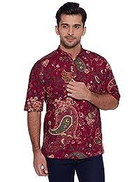 Men Short Sleeve Designer Cotton Kurta Casual Wear Printed Ethnic Kurta