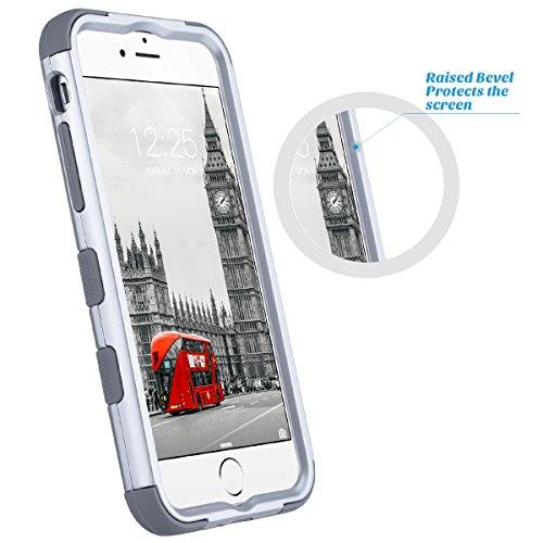 iPhone 6 caso, ULAK iPhone 6s Funda Carcasa silicona caso a prueba de choques Lujo 3in1 híbrido impacto antideslizante cubierta protectora dura para iPhone 6 6s 4,7 pulgadas (plata)
