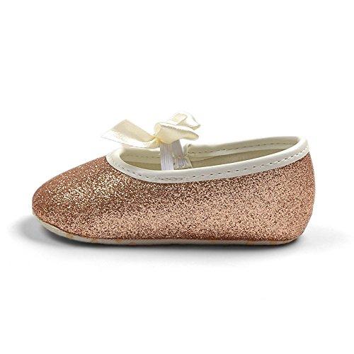 R & V Baby Girl Moccasins Princess Sparkly Premium suela ligera suave infantil Prewalker zapatos Dorado