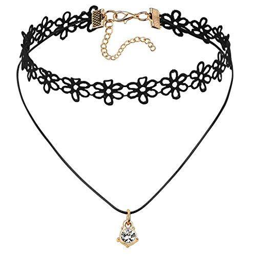 Gnzoe Cru Noir Or Dentelle Fleur Lolita Tatouage Zircone Cubique Gothique Fille Choker Collier