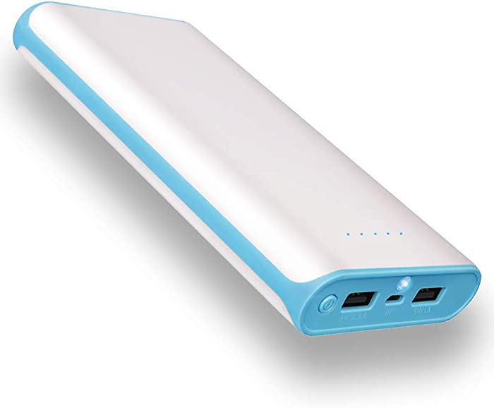 20000mAh Portable Power Bank 2 USB Ports Mobile Charger External Battery with Flashlight for iPhone 8X 8s 7 Plus 6s 6 Plus iPad Samsung Galaxy Smartphones Tablet and More(Blue Frame)