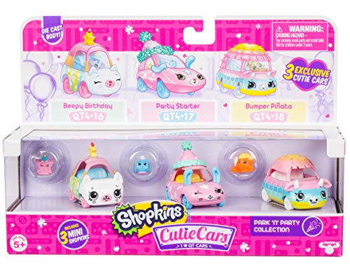 (Shopkins Cutie Cars 3 Pack Collections, Die Cast Collectible Cars with Mini Removable Park N Party Collection)
