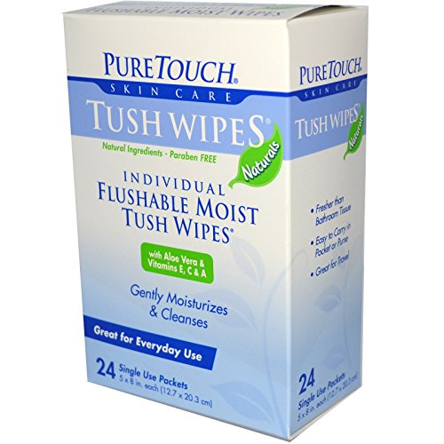 Puretouch Feminine Wipes - Puretouch Tush Flushable Wipes, 24 Count