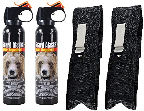 Guard Alaska (Pack of 2) 9 oz. Bear Spray Repellent Firemaster Canister & (Pack of 2) Pepper Enforcement Belt Clip Holsters