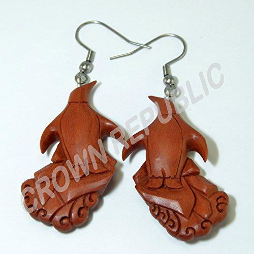 Artic Penguin Earrings Hooks, Dangling