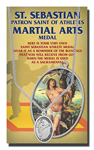 WJH Martial Arts Saint Sebastian Pewter Medal on 24 Continuous Chain, Double-Sided Medal (Martial Arts Medal Pendant)
