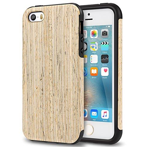 死んでいる迷惑概要TENDLIN iPhone SE ケース 自然木製柔軟TPUシリコン配合保護ケース(北欧ウォールナットウッド)