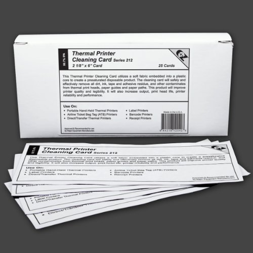 """Thermal Printer Cleaning Card 2 1/8""""X6"""" - 53.9mm x 152.4mm (25 cards)"""