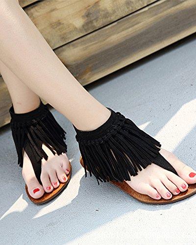 con Zapatos Aire Mujer Señora Ocio Qitun Borlas Sandalias Clip Al Toe Sandalias Verano Zapatos Negro de de Libre Bohemia Planos xqvTpvBw