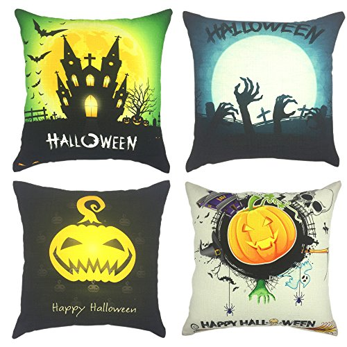 Halloween Throw Pillow (YOUR SMILE Halloween Pumpkin Skull Decorative Throw Pillow Case Cushion Cover Cotton 18x18 (set of 4))