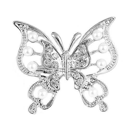 Reizteko Women Girls Double Hollow Butterfly Brooch Pins Alloy with Rhinestone Crystal Pearl Brooches Wedding Pin (Silver)