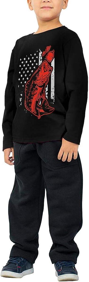 Baby Boys Kids Bass Fishing Lure and American Flag ComfortSoft Long Sleeve T-Shirt