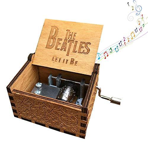 AOLVO - Caja Musical de Madera Tallada con Mecanismo de 8 Notas, Beatles Music Box, 1