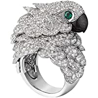 Phetmanee Shop 8.6CT White Topaz&Emerald Parrot 925 Silver Wedding Engagement Ring Size 6-10 (8)