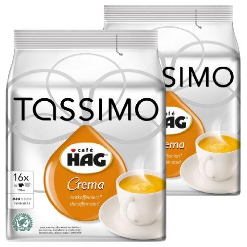 Crema Cafe (Tassimo Café HAG Crema Decaffeinated, Rainforest Alliance Certified, Pack of 2, 2 x 16 T-Discs)