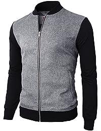 H2H Mens Casual Basic Regular Slim Fit Zip-up Varsity Baseball Bomber Jacket
