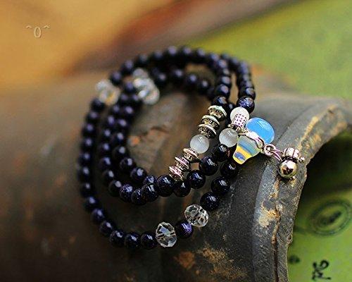New delicate blue sandstone Joker bracelet mix and match elements of white Crystal multilayer bracelet