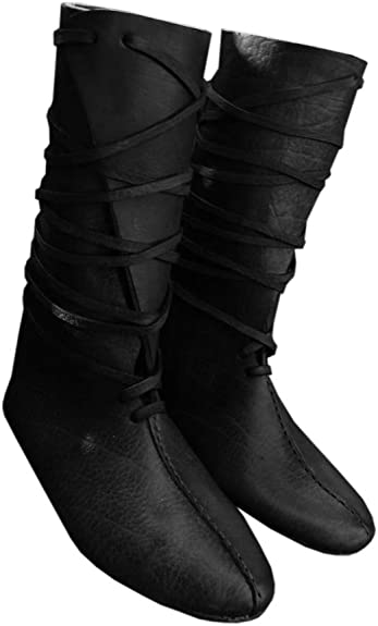 Liyuandian Mens Renaissance Lace Up Costum Boots Medieval Cosplay Pirate Viking Tied Halloween Shoes