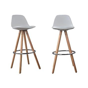 nordic lot de 2 tabourets bar a2 blanc bois massif cuir scandinave chaise pieds - Tabouret De Bar En Cuir