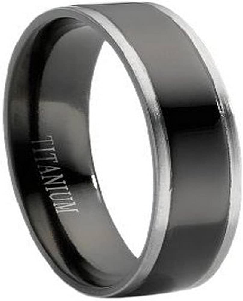 JustMensRings Men's Titanium 6mm Black Wedding Band Sizes 8-17
