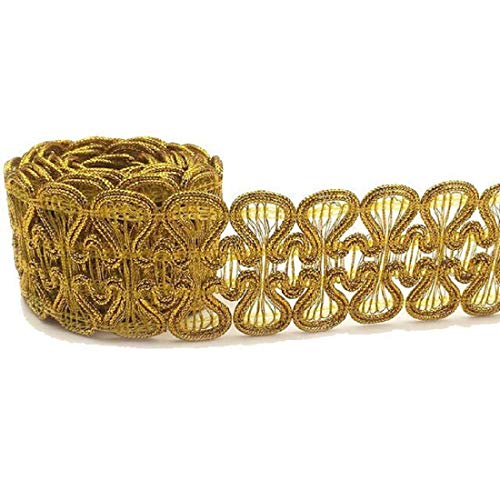 Solid Lace Trim - Yalulu 10 Yard Braid Lace Applique Shiny Gold Sequin Crochet Ribbon Lace Trims Sewing Band Gift Wrap Decor (Gold)