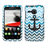 NextKin Alcatel One Touch Evolve 5020T Hard Faceplate Protector Cover Design Case - Anchor On Blue Chevron Zig Zag Pattern