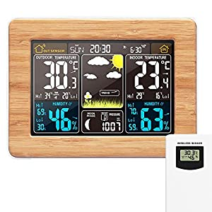 Station météo sans Fil Horloge de météo colorée numérique avec capteur extérieur Thermomètre extérieur intérieur avec…