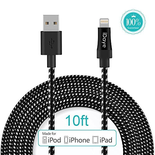 Amazon #LightningDeal 66% claimed: Apple Cable,Idaye®[Apple MFi Certified] 3M/10ft Nylon Braided Lightening Cable/ Charging Cord for iPhone 5 / 5s / 5c / 6 / 6 Plus/ 6s, iPod 7, iPad mini1/2/3, iPad Air / Air 2. (10ft-black)