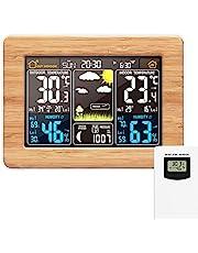 Station météo sans Fil Horloge de météo colorée numérique avec capteur extérieur Thermomètre extérieur intérieur avec Date Température Humidité Baromètre Alarme Phase de la Lune Horloge météo