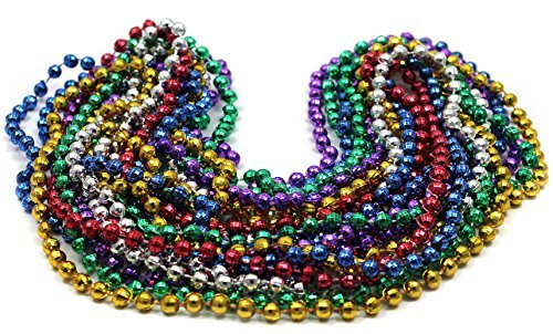 Bulk Mardi Gras Beads 33in 10mm 6 colors 20 dozen (240) necklaces