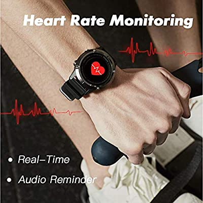 runtopia S1 Outdoor Running GPS Smart Watch with Heart Rate Monitor, GPS Tracking and Super Long Battery Life for Running, Biking, Walking, Fitness. Black GPS Watch for Android and iOS.