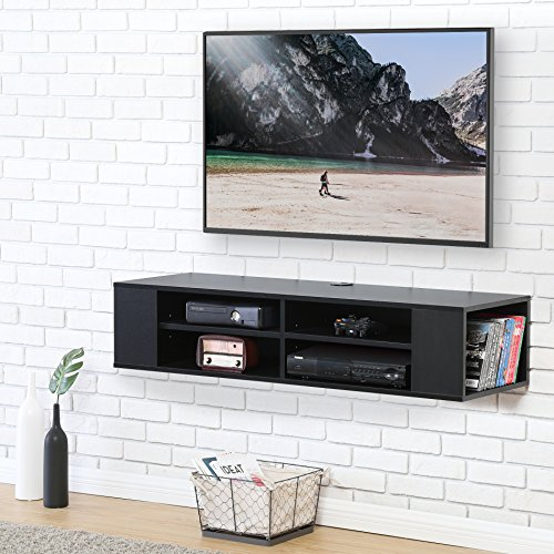 Fitueyes Wall Mounted Audio/Video Console Black Wood grain for xbox one/PS4/vizio/Sumsung/sony TV DS212002WB (Wood Component)
