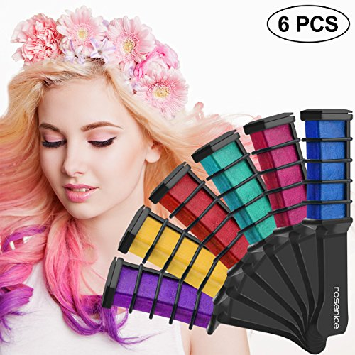 Hair Chalk Comb 6pcs Shimmer Temporary Hair Color Cream, Birthday Gifts for Girls by PIXNOR