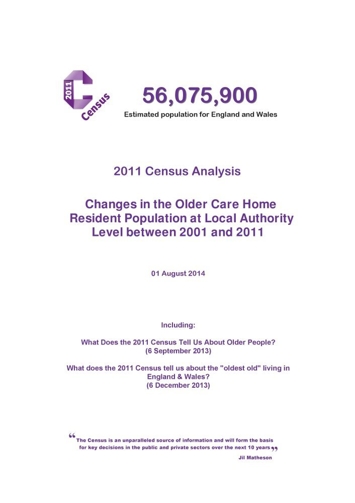 Download 2011 Census Analysis: Changes in the Older Care Home Resident Population at Local Authority Level Between 2001 and 2011 pdf epub