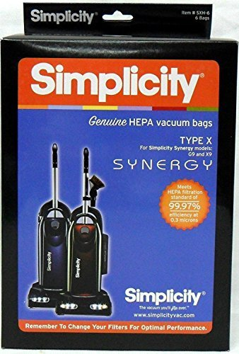 Simplicity Type X HEPA Synergy Vacuum Cleaner Bags 6 Pack by Simplicity