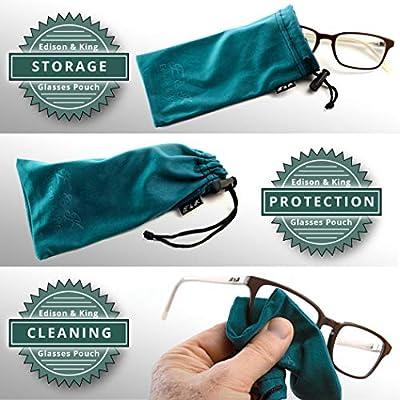 Estuche para gafas y paño para limpieza de gafas en uno - paquete de 4 fundas para gafas de paño de microfibra - estuche de gafas de sol - no necesitarás paños