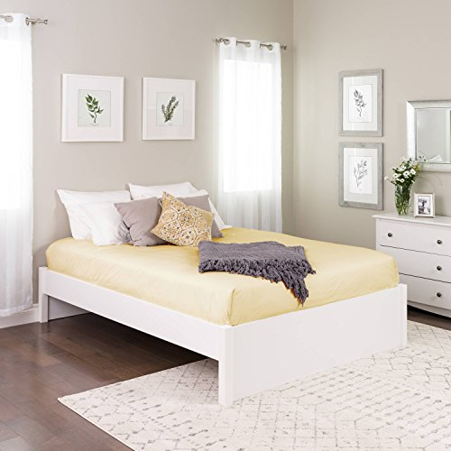 (Queen Select 4-Post Platform Bed, White)