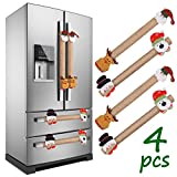 LimBridge Set of 4 Christmas Burlap Decorations 3D Refrigerator Door Handle Cover, Double Door Fridge, Kitchen Microwave Dishwasher Handle D¨¦cor